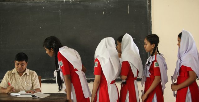 Students attend class at the Kamrun Nessa Government Girls School in Dhaka. Photo: Abir Abdullah/ADB
