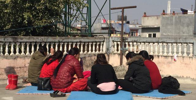 Adolescents girls being interviewed in Nepal. Photo: Fiona Samuels