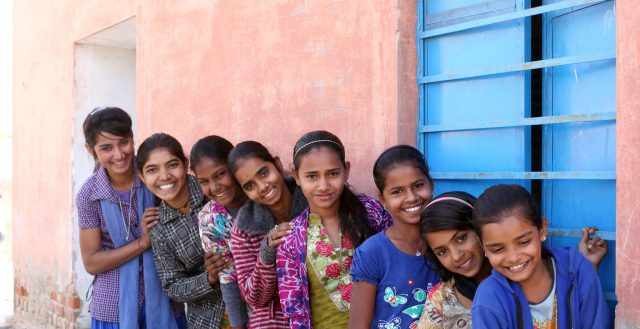 Young adolescent girls meeting at the Anganwadi Centre in Rajasthan, India. Photo: Soumi Das/UNICEF 2018