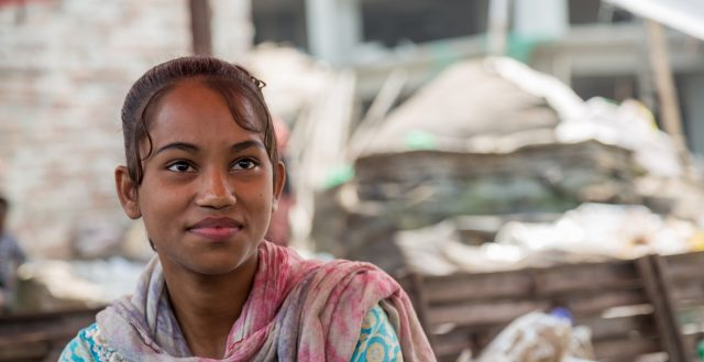 Adolescent girl working in a recycling plant, Dhaka. Photo: Nathalie Bertrams/GAGE
