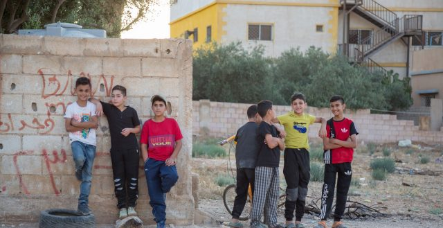 Boys in Jordan playing soccer. Photo: Natalie Bertrams/GAG