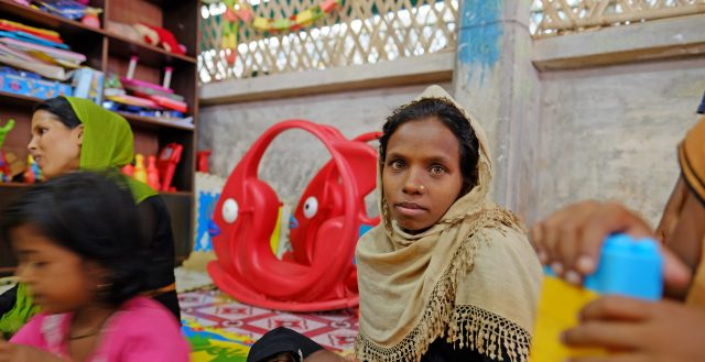 A mother and her baby in a camp in Cox's Bazar for Rohingya refugees, Bangladesh. Photo: Mallika Panorat/European Union