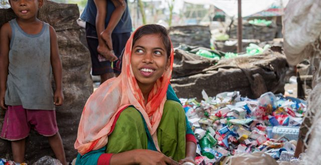 Adolescent girl at a recycling plant in Dhaka. Photo: Nathalie Bertrams/GAGE