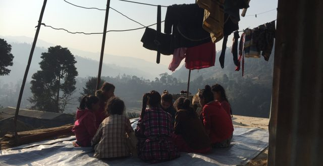 Focus group discussion with adolescent girls in Sindhupalchowk. Photo: Fiona Samuels/GAGE 2020