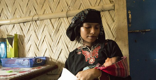 Young mother from the Rohingya community in Bangladesh. Photo: DFID/Anna Dubuis