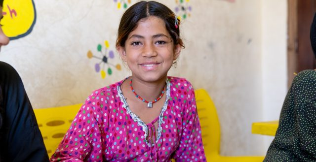 Sonia, 10 years, attends Arabic learning class in her local Makani centre. Photo: UNICEF