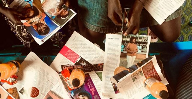 South Sudanese refugee girls create collages as part of a participatory workshop in Uganda. Photo©Audrey Taylor, HRC (2020)